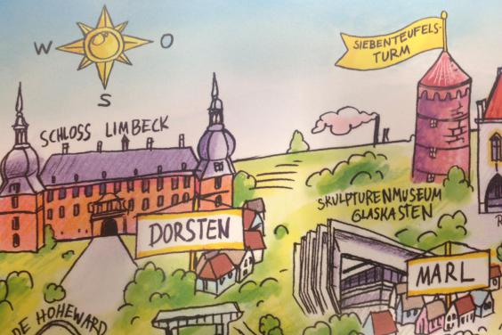 Kalenderblatt mit Schönheitsfehler: »Schloss Limbeck« - dem Düsseldorfer fällt´s nicht auf, der Dorstener weiß es besser. (Foto: Christoph Göttert)