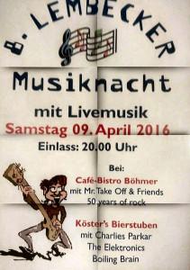8. Lembecker Musiknacht @ Kösters Bierstuben & Cafe-Bistro Böhmer | Dorsten | Nordrhein-Westfalen | Deutschland