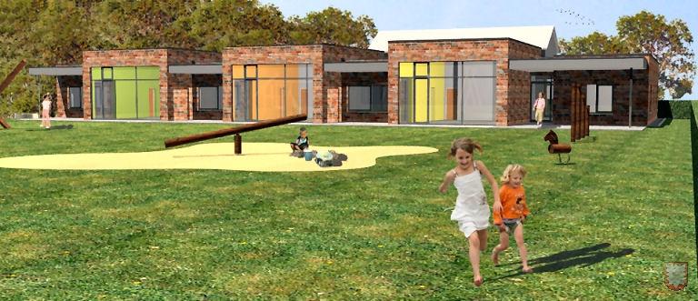 Der Blick auf den neuen Kindergarten vom Süden (dahinter das Pfarrhaus). Foto / Grafik: Ralf Badura