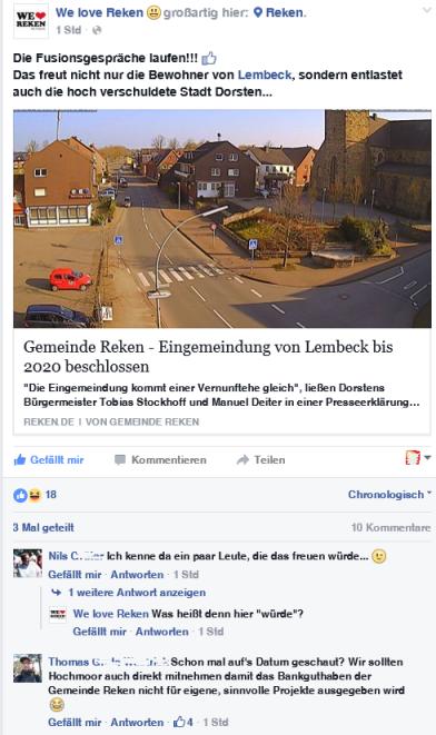 """Screenshot des Facebookbeitrages von """"We love Reken"""""""