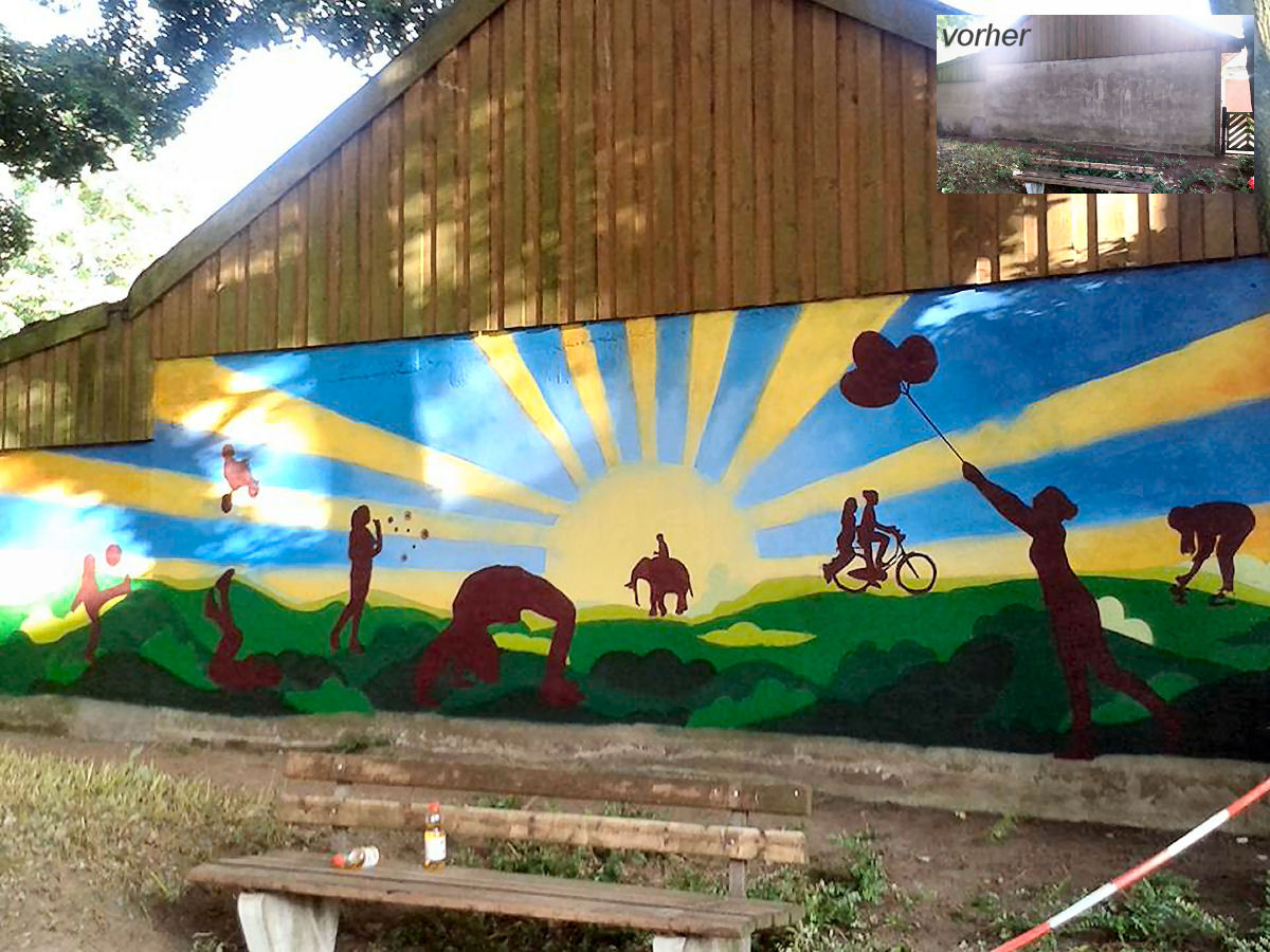 Das fertige Werk an der Garagenrückwand am Spielplatz Kettelerstraße. Foto: Annette Kortenhorn