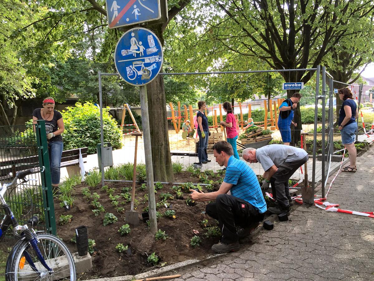 Peter Liebers und Helfer beim Bepflanzen des Spielplatzes Bonhoefferring. Foto: Ursula Küsters