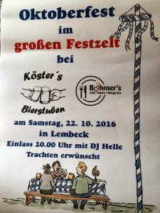 Oktoberfest im großen Festzelt @ Böhmer & Kösters Bierstuben