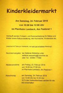 kfd: Kinderkleidermarkt (Kleiderannahme) @ Pfarrheim Lembeck | Dorsten | Nordrhein-Westfalen | Deutschland