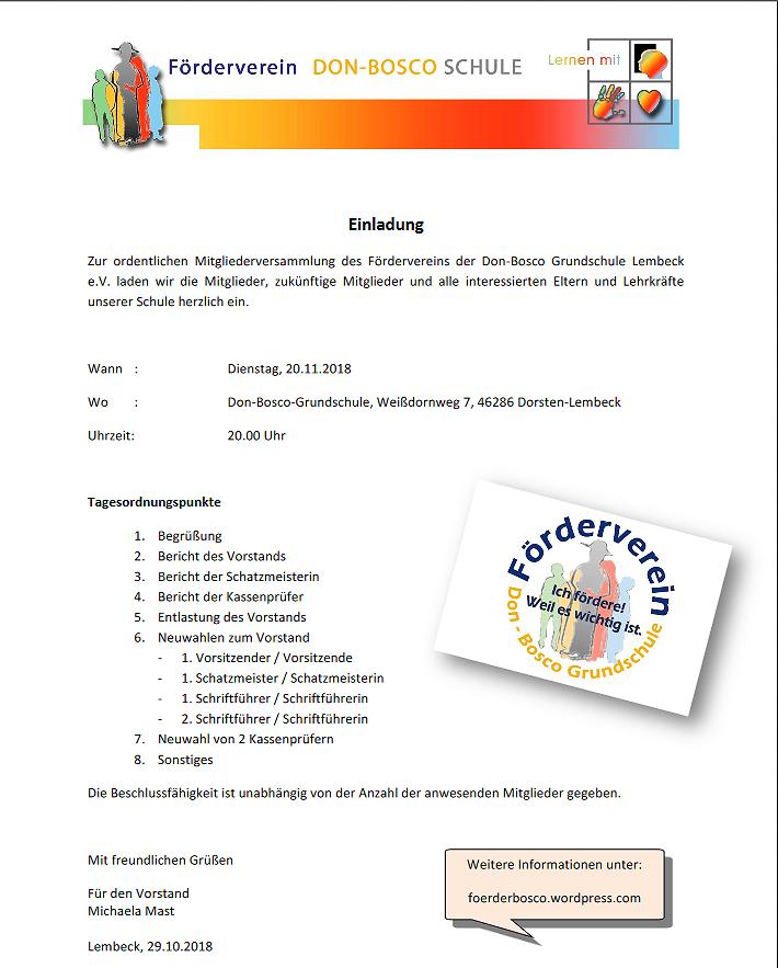 JHV Don-Bosco-Förderverein @ Don-Bosco-Grundschule | Dorsten | Nordrhein-Westfalen | Deutschland
