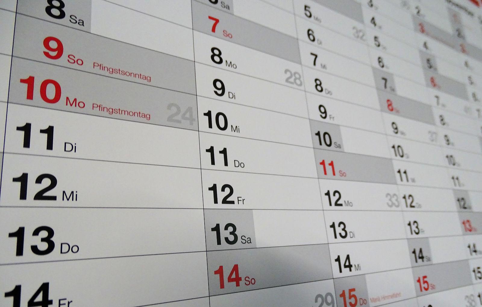 Kalender, Termine, Vereinstermine, 2020
