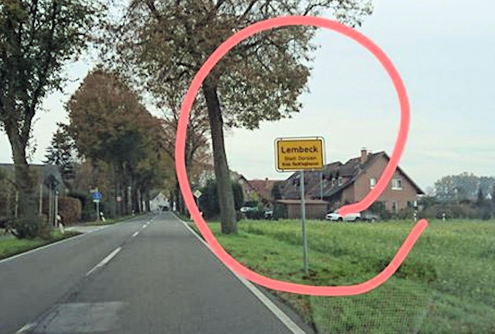 Schild, Ortseingang, Rhade, Erler Straße