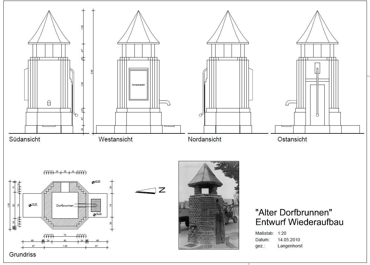 Dorfbrunnen Planungszeichnung
